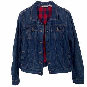 LL Bean Flannel Lined Denim Jacket women's size M